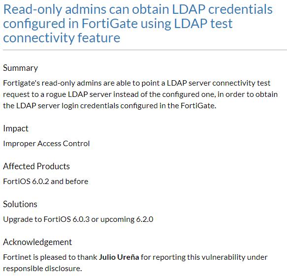 My 1st CVE - Capture LDAP credentials from FortiGate
